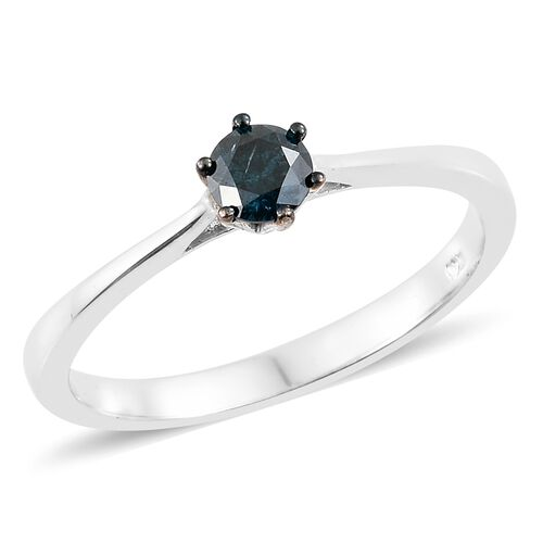 Super Auction - SGL Certified Blue Diamond (I1-I2) (Rnd) Solitaire Ring in Blue and Platinum Overlay Sterling Silver 0.500 Ct.