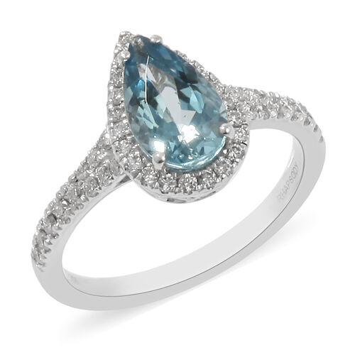 RHAPSODY 950 Platinum Santa Maria Aquamrine and Diamond Ring 2.00 Ct, Platinum Wt. 4.80 Gms