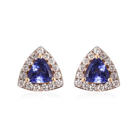ILIANA 18K Yellow Gold AAA Tanzanite and Diamond (SI/G-H) Earrings (with Screw Back) 1.09 Ct.