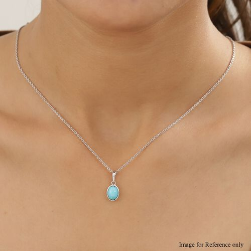 Arizona Sleeping Beauty Turquoise Solitaire Pendant in Platinum Overlay Sterling Silver 1.05 Ct.