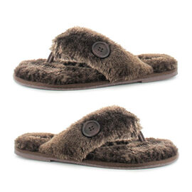 Ella Rebecca Supersoft Toe Post Slipper in Brown Colour