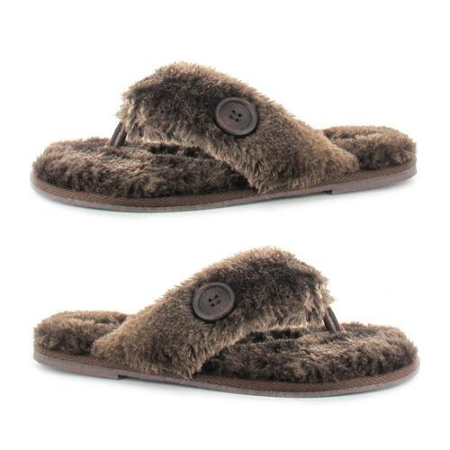 Ella Rebecca Supersoft Toe Post Slipper (Size 6) - Brown