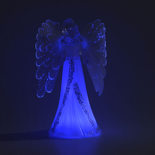 Xmas Decorations Angel with Large Feather Wings Colour - Changing LED Light (Size 22 Cm)