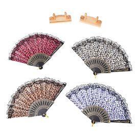 4 Piece Set- Leopard Print Foldable Japanese Hand Fan (Size 23.5x3.5 Cm) (White, Yellow, Purple and