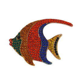 Multi Colour Austrian Crystal Freshwater Angelfish Brooch in Yellow Gold Tone