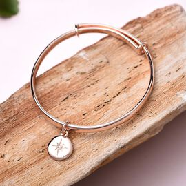 RACHEL GALLEY Diamond Kids Bangle (Size 4.95) with Star Charm in Rose Gold Overlay Sterling Silver,
