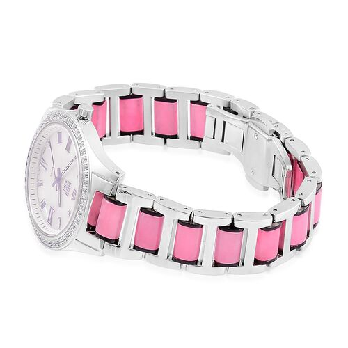 EON 1962 - Swiss Movement Pink Jade, White Topaz and MOP Watch