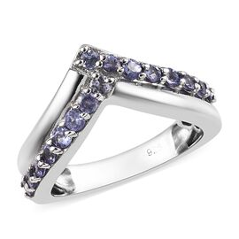 Tanzanite (Rnd) Wishbone Ring in Platinum Overlay Sterling Silver 0.750 Ct.