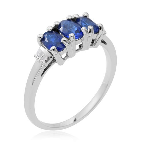 1.75 Ct Very Rare Blue Spinel and Diamond Ring in Rhodium Plated Silver