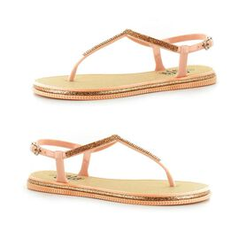 Ella Winnie Diamante Toe Post Sandals in Rose Gold