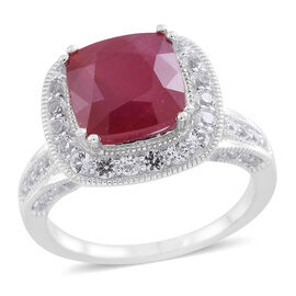 New Concept - African Ruby (Cush 6.20 Ct), White Topaz and Kanchanaburi Blue Sapphire Ring in Rhodium Plated Sterling Silver 8.000 Ct. Silver wt 6.51 Gms.