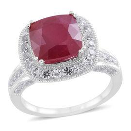 New Concept - African Ruby (Cush 6.20 Ct), White Topaz and Kanchanaburi Blue Sapphire Ring in Rhodiu