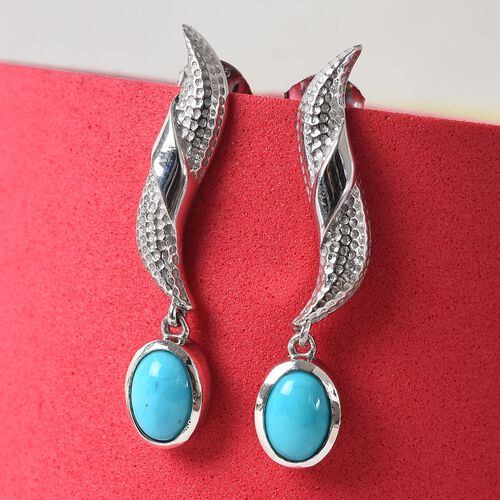 AA Arizona Sleeping Beauty Turquoise Dangle Earrings (with Push Back) in Platinum Overlay Sterling Silver 1.25 Ct.