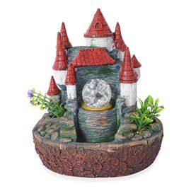 Fairy Castle Water Fountain with Rotating Magical Light Globe (Size 25x23 Cm)