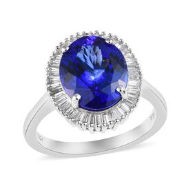 RHAPSODY 4.50 Ct AAAA Tanzanite and Diamond Halo Ring in 950 Platinum 6.11 Grams VS EF
