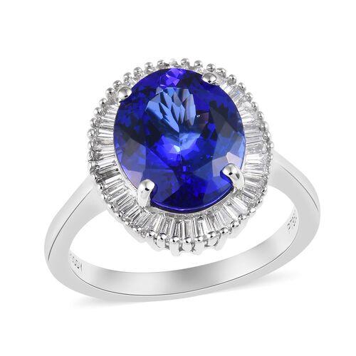 RHAPSODY 4.50 Ct AAAA Tanzanite and Diamond Halo Ring in 950 Platinum 6.11 Grams VS EF