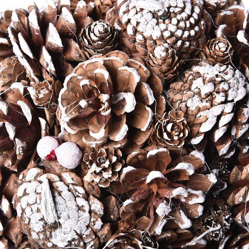 Christmas Decor Pinecones Drop Shot Embellished with Red Berries (Size 24x24cm)