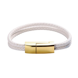 Braided White Leather 2-Strand Cuff Charging Cable Bracelet (Size 8) in Yellow Gold Tone Clasp