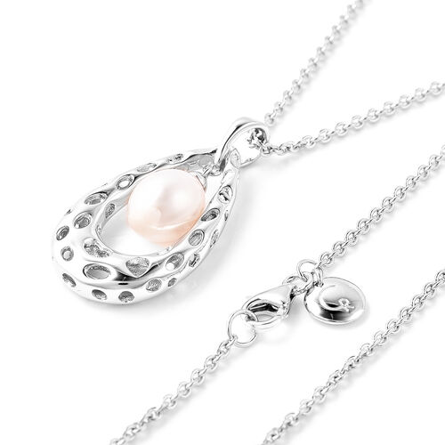 RACHEL GALLEY - Freshwater Pearl Pendant with Chain (Size 30) in Rhodium Overlay Sterling Silver, Silver wt. 11.45 Gms