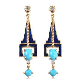 Arizona Sleeping Beauty Turquoise and Natural Cambodian Zircon Enamelled Dangle Earrings (with Push