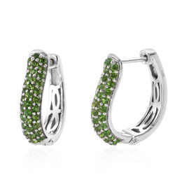 Limited Available-AAA Russian Diopside (Rnd) Hoop Earrings in Platinum Overlay Sterling Silver 2.000 Ct.No of Stone 68 Pcs