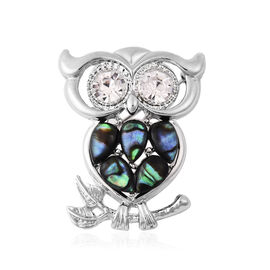 Abalone Shell and White Austrian Crystal Owl Brooch or Pendant with Chain 24 Inch
