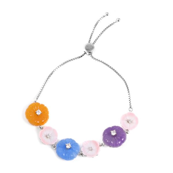 34.15 Ct Purple Jade and Blue Jade with Multi Gemstones Adjustable Bolo Bracelet in Sterling Silver