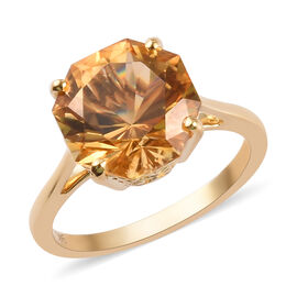 9K Yellow Gold AAA Citrine Solitaire Ring 3.75 Ct.