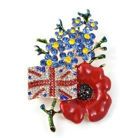 TJC Poppy Design - Multi Colour Austrian Crystal Flag and Flower Brooch in Gold Tone