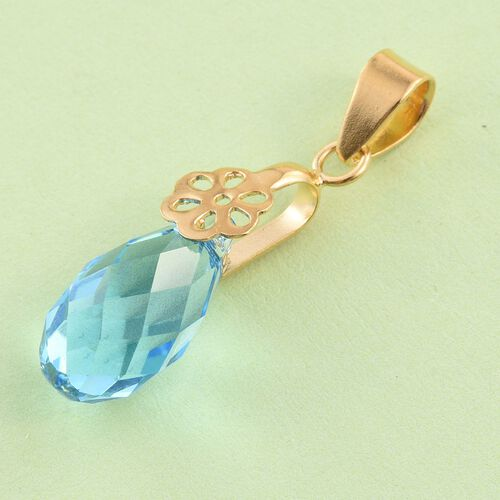 J Francis Crystal from Swarovski - Aquamarine Colour Crystal Drop Pendant in Yellow Gold Overlay Sterling Silver