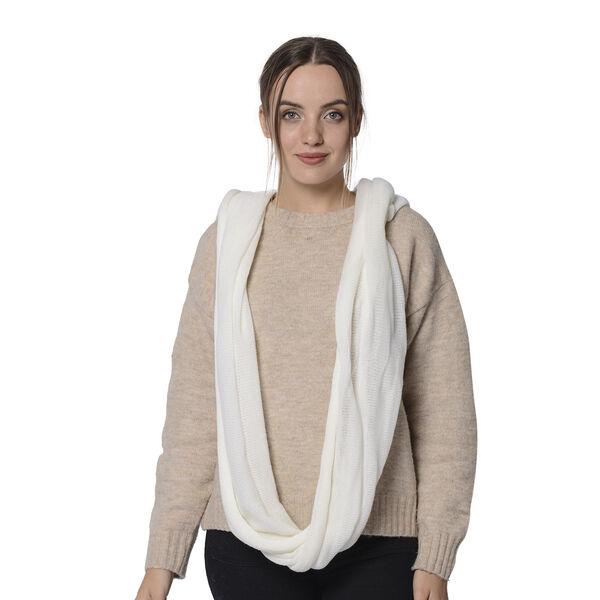 Designer Inspired-White Colour Infinity Scarf (Size 77x70 Cm)