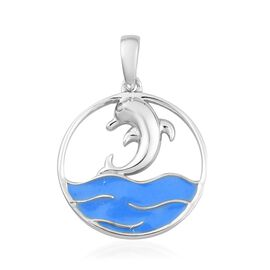 Platinum Overlay Sterling Silver Enamelled Dolphin Pendant