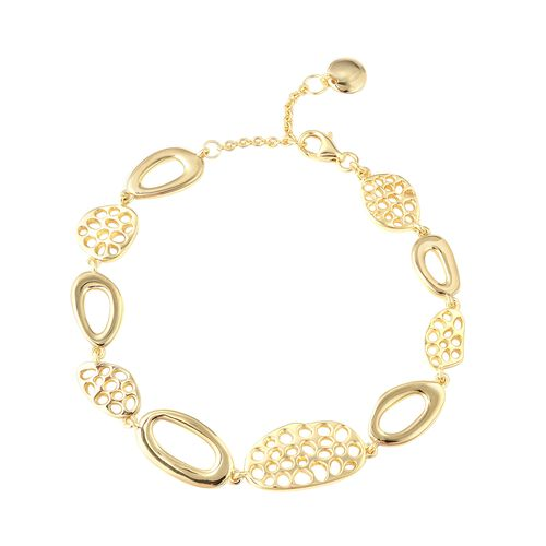Super Auction - RACHEL GALLEY Yellow Gold Plated Sterling Silver Boroque Pebble Bracelet (Size 7.5 t