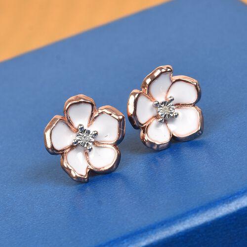 Designer inspired - Diamond (Rnd) Floral Enamelled Earrings (with Push Back) in Rose Gold Overlay Sterling Silver