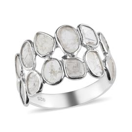 Artisan Crafted Natural Polki Diamond Ring in Platinum Overlay Sterling Silver 1.10 Ct.