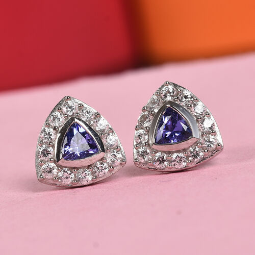AAA Tanzanite and Natural Cambodian Zircon Stud Earrings (with Push Back) in Platinum Overlay Sterling Silver 1.00 Ct.