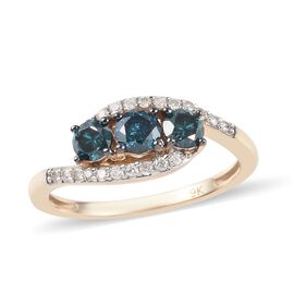 9K Yellow Gold Blue Diamond (Rnd), White Diamond (I1/G-H) Ring 0.75 Ct.
