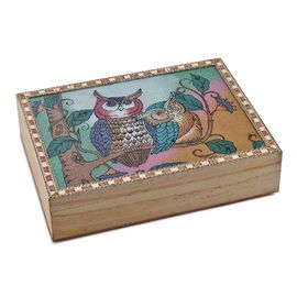 Wooden Jewellery Box with Hand-painted Gemstone Owls (Size 20.3x15.2x5 Cm) with Red Velvet Lining -