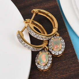 AA Ethiopian Welo Opal and Natural Cambodian Zircon Earrings (with Clasp) in 14K Gold Overlay Sterli