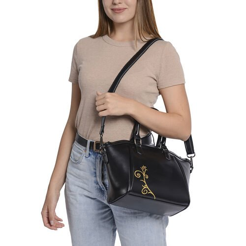 100% Genuine Leather Vine Pattern Tote Bag with Zipper Closure and Detachable and Adjustable Shoulder Strap (Size 22x13x23) - Black