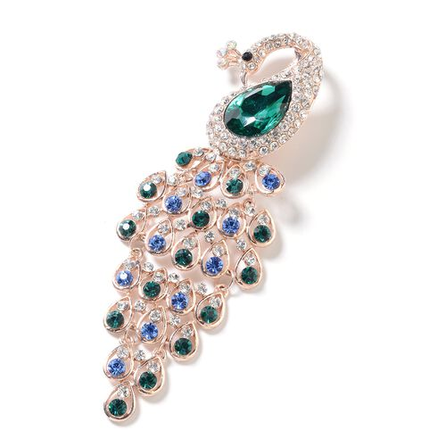 Simulated Emerald (Pear), Multi Colour Austrian Crystal Peacock Brooch in Rose Gold Tone