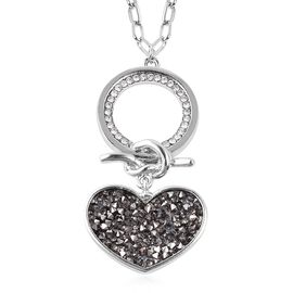 White Austrian Crystal (Rnd) Heart and Ring Necklace (Size 28 with 2 inch Extender) in Silver Tone