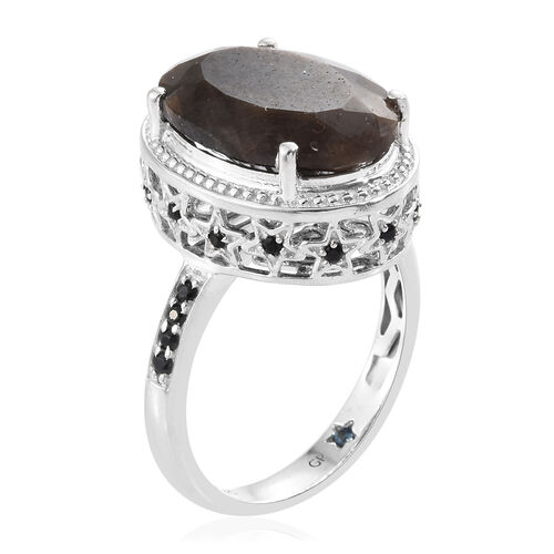 GP Zawadi Sheen Sapphire (Ovl 13.90 Ct), Boi Ploi Black Spinel and Kanchanaburi Blue Sapphire Ring in Platinum Overlay Sterling Silver 14.250 Ct. Silver wt. 5.70 Gms.