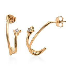 Diamond Star J Hoop Earrings in Gold Plated Sterling Silver