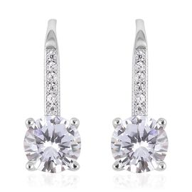 ELANZA Simulated Diamond (Rnd) Lever Back Earrings in Rhodium Overlay Sterling Silver