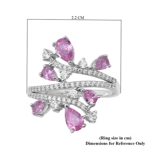 ELANZA AAA Simulated Pink Sapphire and Simulated Diamond Ring in Rhoidum Overlay Sterling Silver