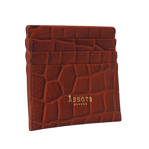 Assots London FANN Croc Embossed Genuine Leather RFID Credit Card Holder (Size 10x8.5cm) - Red