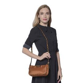 Designer Inspired - Camel Bag with Leopard Pattern Shoulder Strap