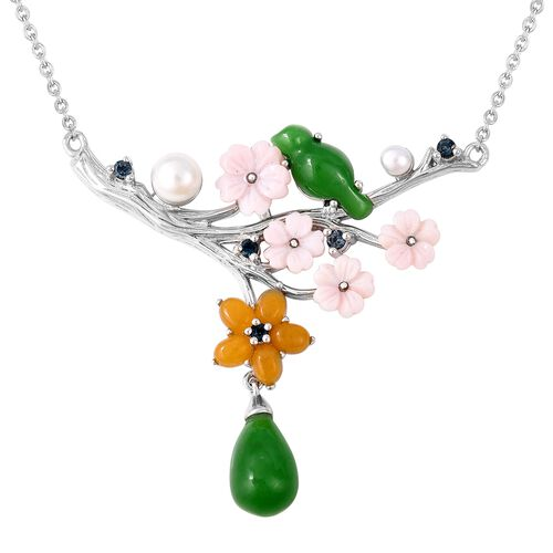 JARDIN COLLECTION- Green and Yellow Jade, Pink Mother of Pearl, Freshwater Pearl and London Blue Top