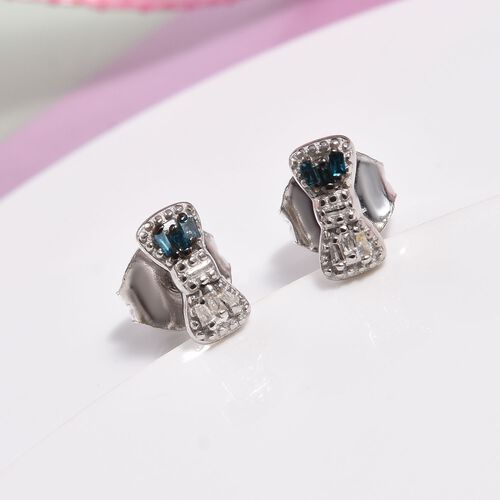 Children Blue and White Diamond Bow Earrings in Sterling Silver